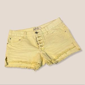 Free People Runaway Yellow Button-Fly Shorts